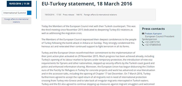 Соглашение между ЕС и Турцией по вопросу размещения беженцев.