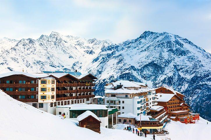 Горы горнолыжного курорта Зельдена Австрия